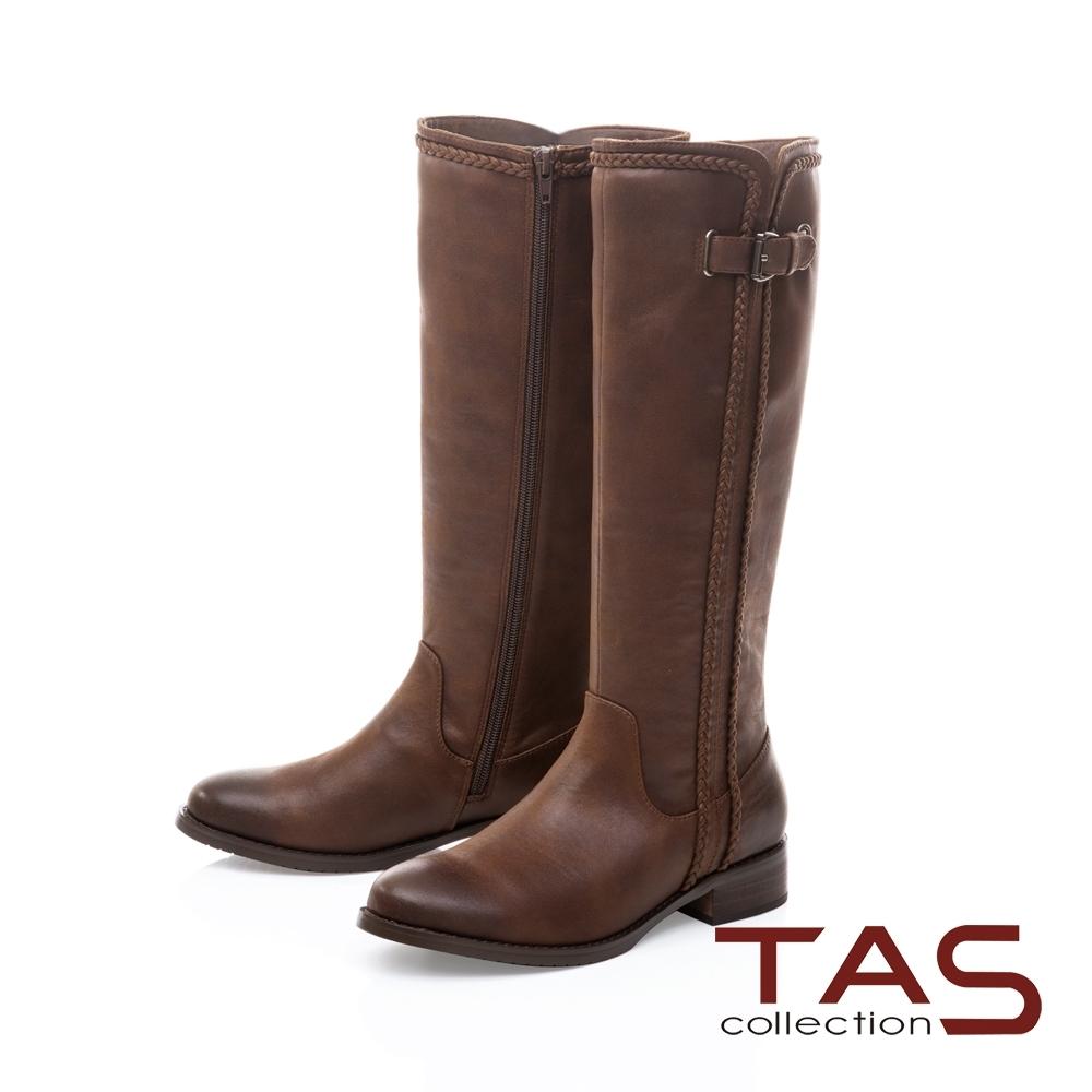 TAS側釦帶拼接細條編織低跟長靴-焦糖棕