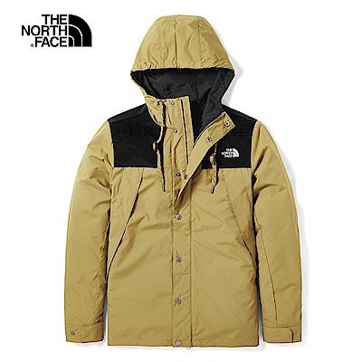 The North Face北面男款卡其色防潑水連帽風衣|3VTZD9V