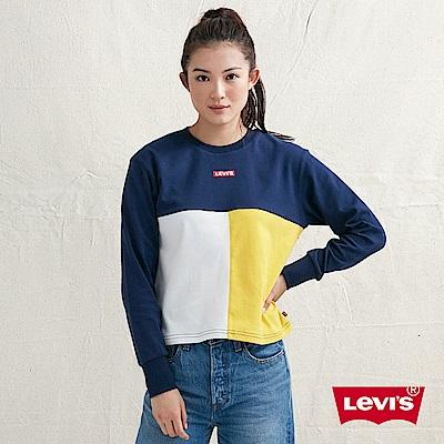 Levis 女款 大學T 色塊拼接 Box Logo