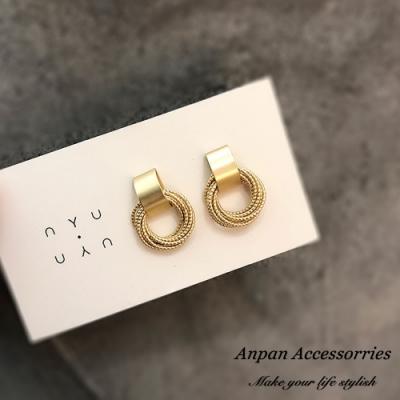 【3件51折】ANPAN愛扮韓東大門氣質百搭啞光金屬圈圈銀耳釘式耳環