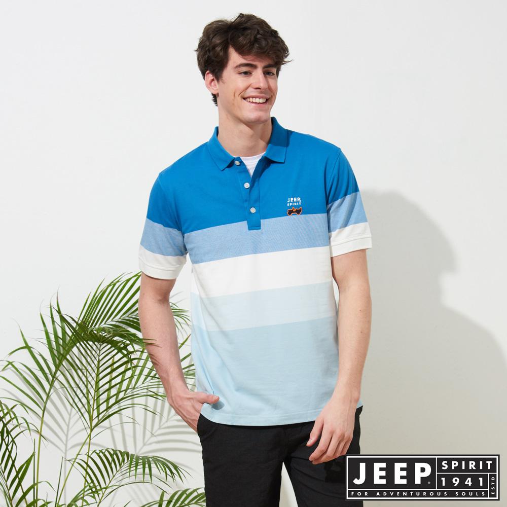 JEEP 漸層造型質感短袖POLO衫-藍色