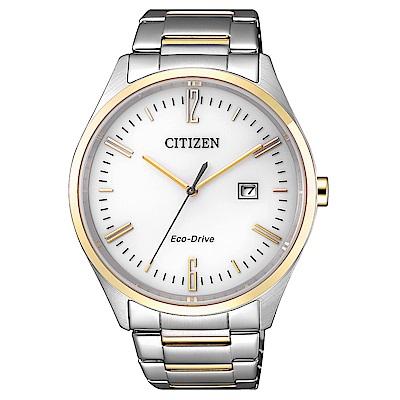 CITIZEN-英倫情人半金點綴光動能石英腕錶-B