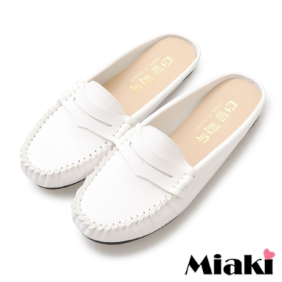 Miaki-穆勒鞋小資韓風平底豆豆鞋-白