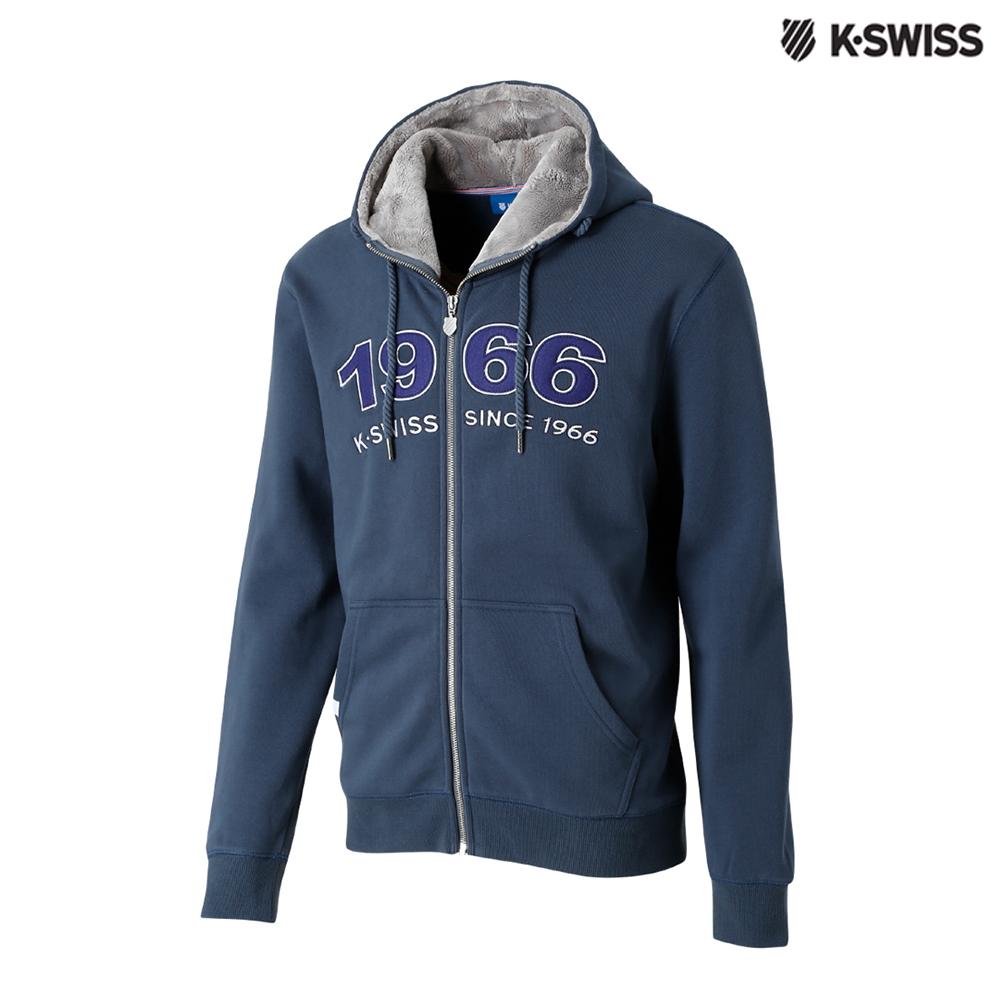 K-SWISS Fake Fur Hoodie Jkt休閒連帽外套-男-深藍