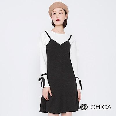 CHICA 甜美赫本荷葉襬造型針織洋裝(2色)