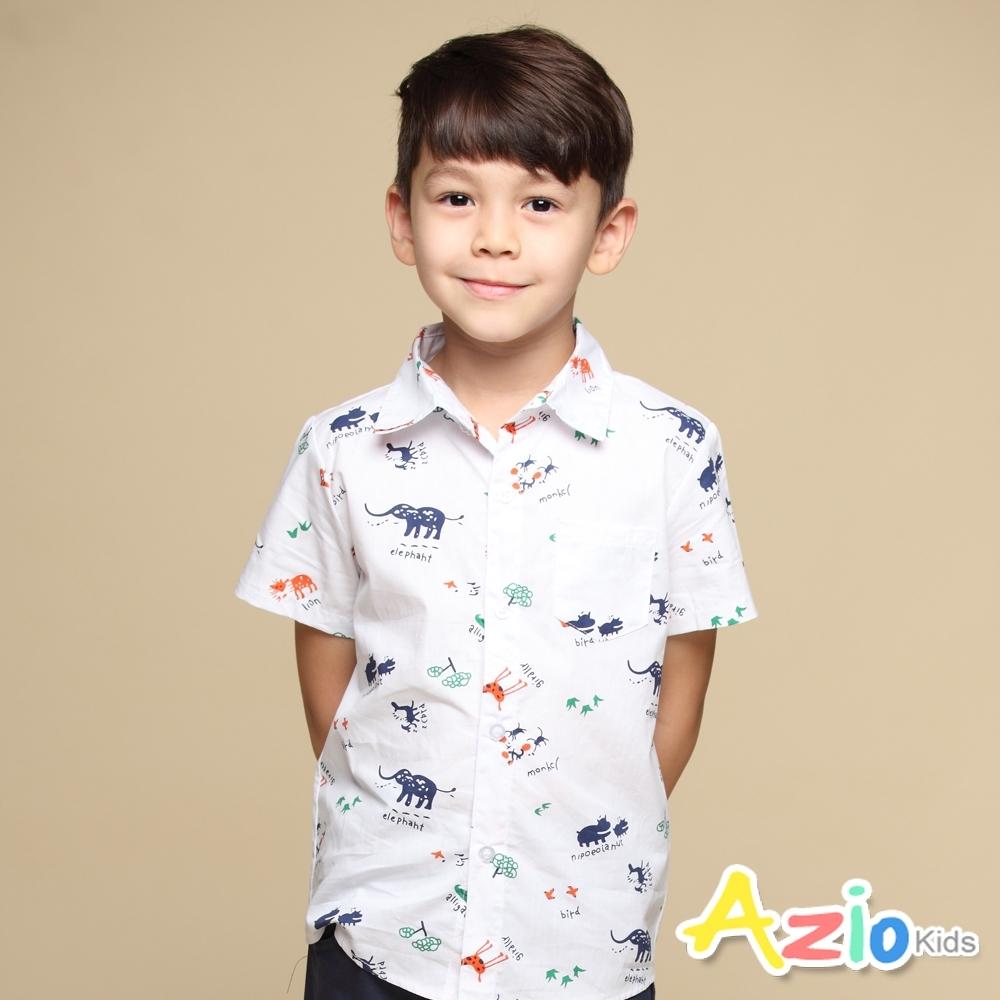Azio Kids 上衣 滿版動物印花單口袋短袖襯衫(白)