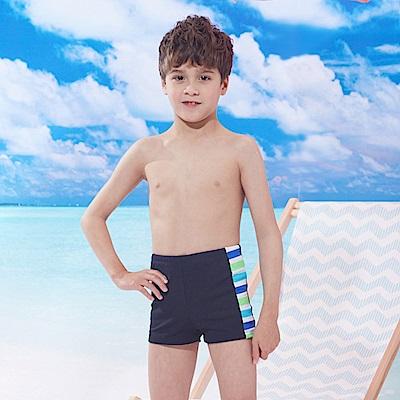 男童泳褲短版四角褲(T-967)藍綠邊條拼接TiNyHouSe