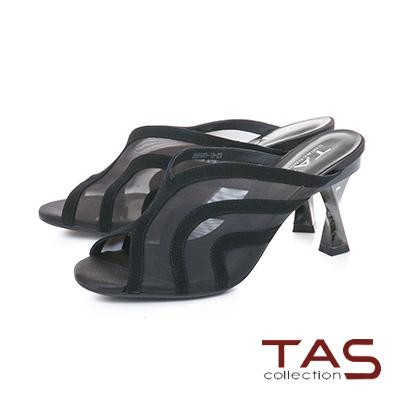 TAS透膚網紗曲線魚口高跟涼拖鞋–性感黑