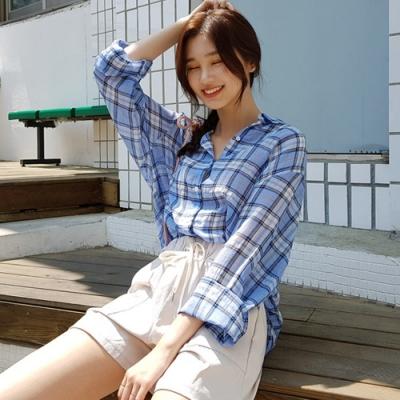 La Belleza單口袋燈籠袖格子配色線條格紋棉麻開釦襯衫