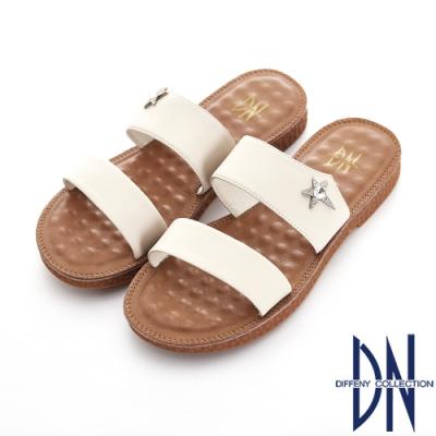 DN 夏日漫步 流星一字寬版舒適拖鞋-米白