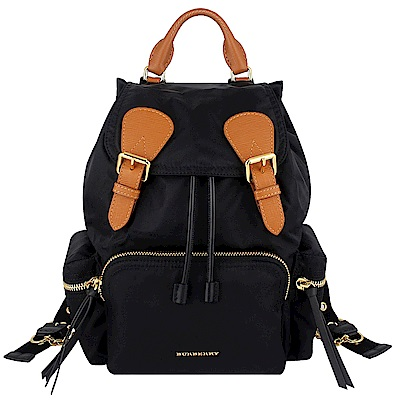 BURBERRY The Rucksack黑色尼龍咖啡色皮飾邊鍊帶後背包