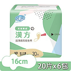 良爽漢方珍珠柔棉衛生棉-護墊型16cm 20片x6包/組