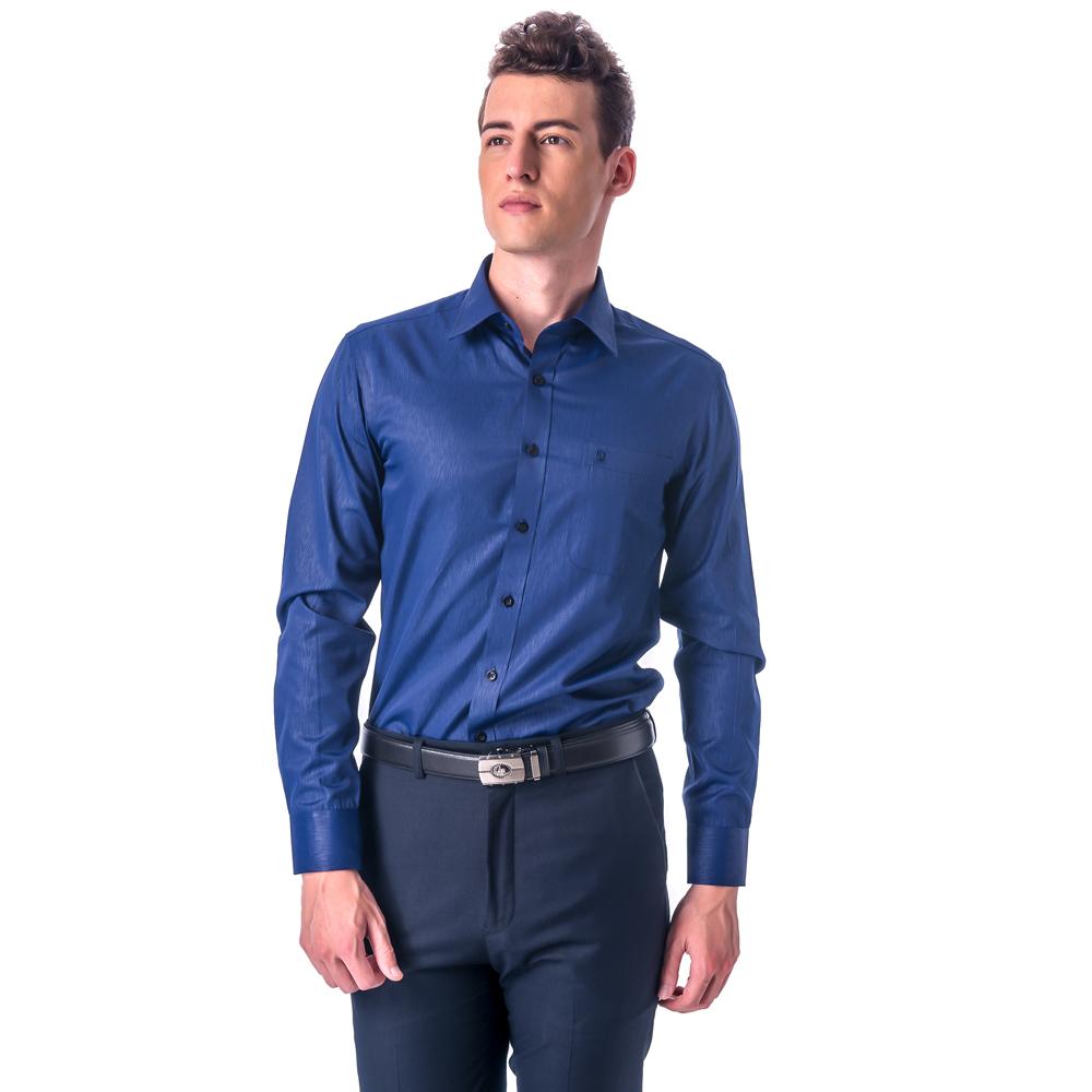 【金安德森】深藍漸層暗紋窄版長袖襯衫
