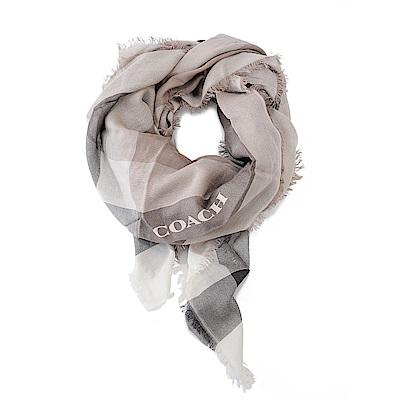 COACH 拼接色LOGO羊毛混絲披肩圍巾 灰色格紋