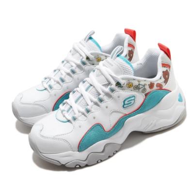 Skechers 休閒鞋 D LITES 3 老爹鞋 女鞋 厚底 增高 Line Friend 熊大 白 藍 66666255WAQ