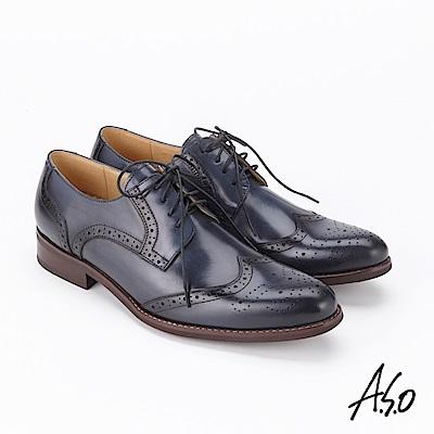 A.S.O  3D超動能 綁帶蠟感牛皮奈米紳士鞋深藍