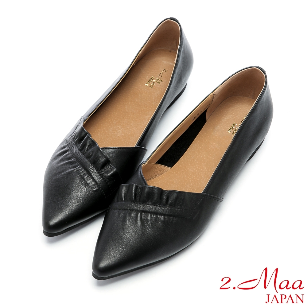 2.Maa 時尚素面尖頭牛皮跟鞋 - 黑