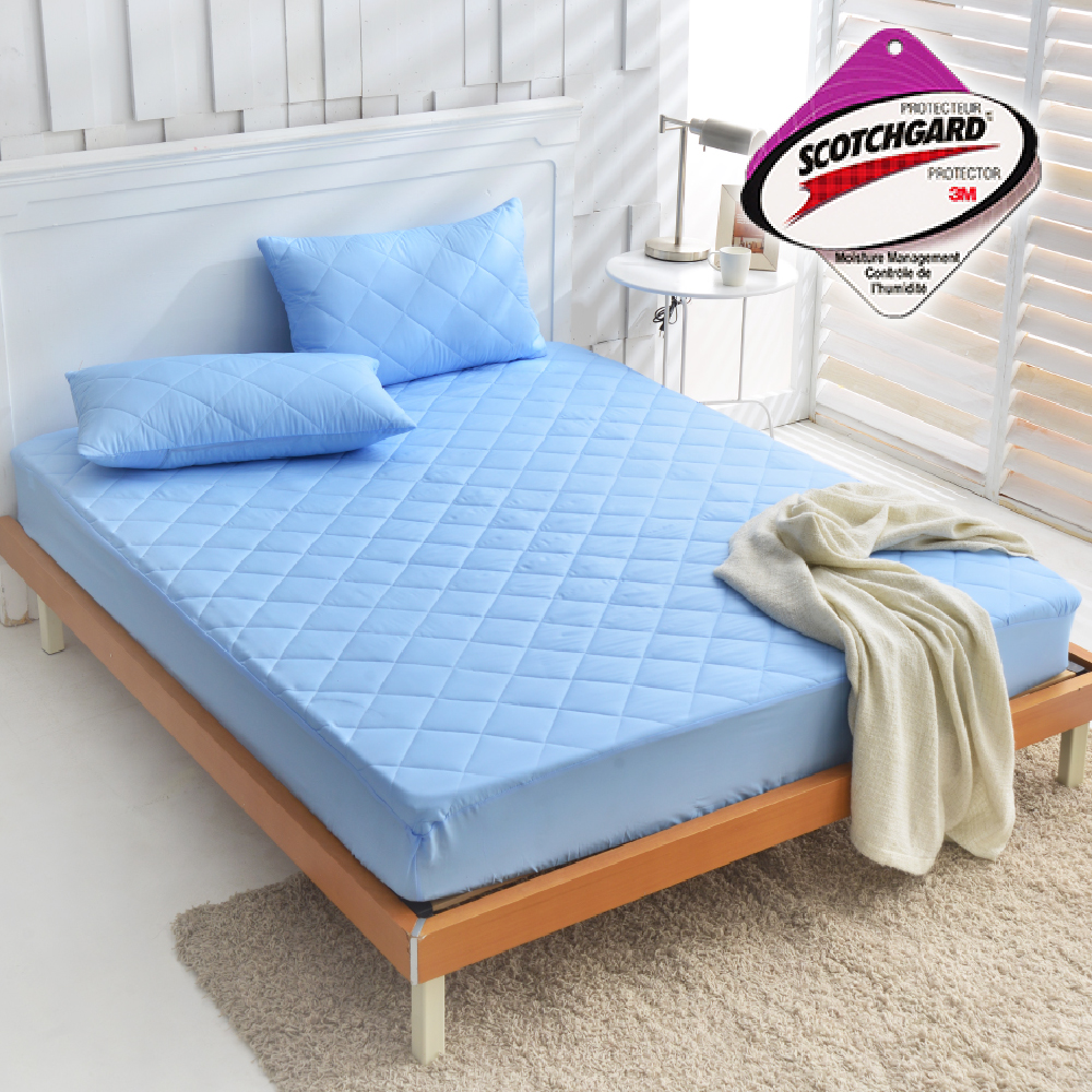 Goelia 台灣製採用3M吸濕排汗設計包覆式保潔墊一入-藍雙人