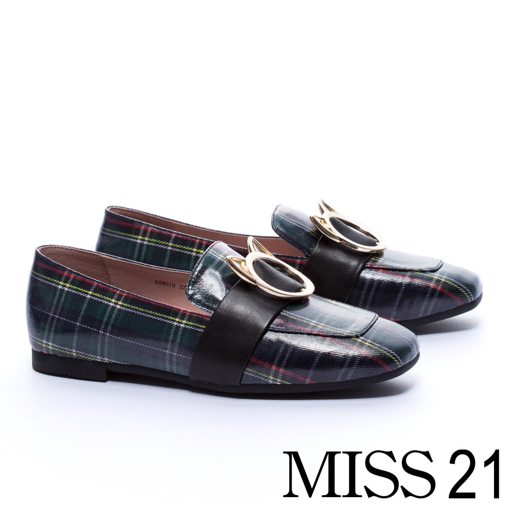 低跟鞋MISS 21 復古俏皮小貓釦飾方頭低跟樂福鞋-格紋