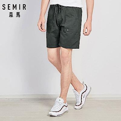 SEMIR森馬-腰間綁帶低調小刺繡圖案短褲-男