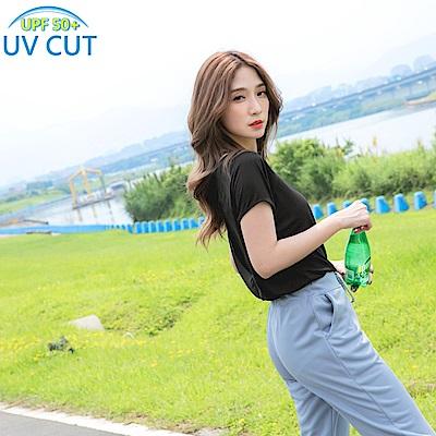 台灣製造~純色抗UV背後縷空運動上衣-OB大尺碼