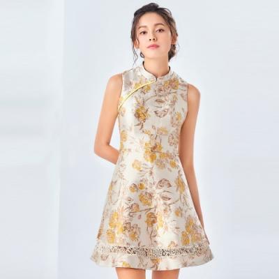 OMUSES 緹花旗袍A-Line洋裝