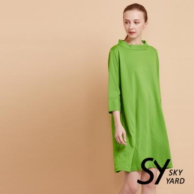 【SKY YARD 天空花園】小立領七分袖彈性連身洋裝-綠色