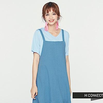 H:CONNECT 韓國品牌 女裝 - V領純色柔軟T-Shirt-藍