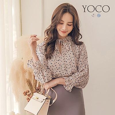 東京著衣-yoco 法式輕甜滿版花朵荷葉袖綁帶上衣-S.M.L(共二色)