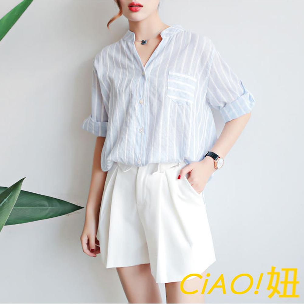 淺條紋可反摺袖棉麻襯衫 (共二色)-CIAO妞