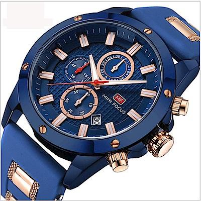 美國熊 深藍的優雅 商務男士 真三眼計時日期窗腕錶