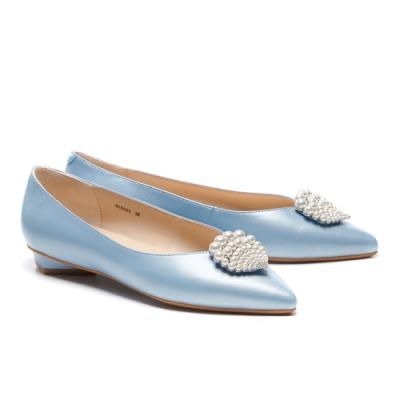 低跟鞋 AS 深海精靈珍珠貝殼鑽飾全羊皮尖頭低跟鞋-藍