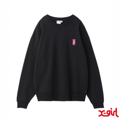 X-girl BUNNY EMBROIDERY CREW SWEAT TOP大學T-黑