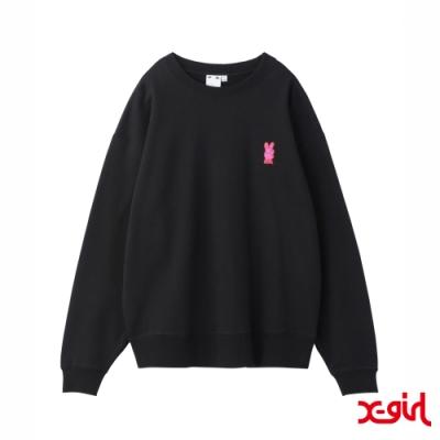 X-girl BUNNY EMBROIDERY CREW SWEAT TOP大學T-黑
