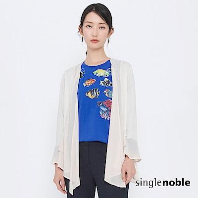 獨身貴族 浪漫國度荷葉拼接雪紡罩衫(1色) @ Y!購物