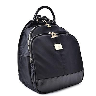 kuma heya -日本帆布和風柔素後背包-金鑽黑配黑色真皮