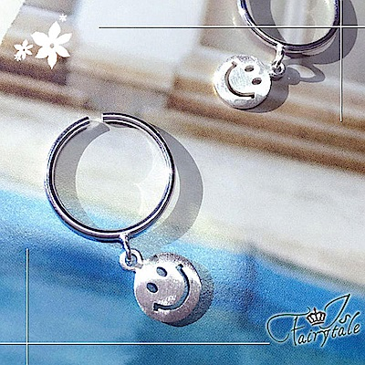 iSFairytale伊飾童話 樂觀笑臉 銅鍍白金開口戒指 11號