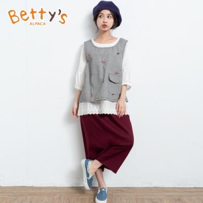 betty's貝蒂思 鬆緊腰圍低檔休閒九分褲(暗紅)