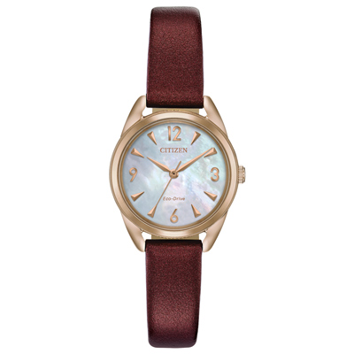 CITIZEN 光動能時尚珍珠母貝錶盤女錶(EM0683-04D)-酒紅色皮革