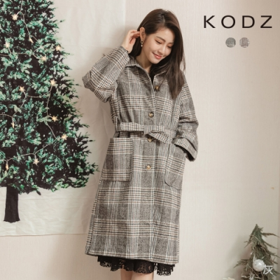 東京著衣-KODZ 復古優雅經典格紋排釦附綁帶長版厚外套