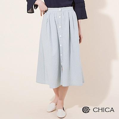 CHICA 文藝少女排釦條紋圓襬中長裙(2色)