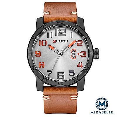CURREN 卡瑞恩 數字大錶盤 撞色日期皮革男錶 棕帶銀面45mm