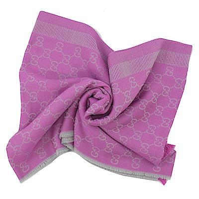 GUCCI 經典LOGO羊毛織長型圍巾/披肩(紫灰)