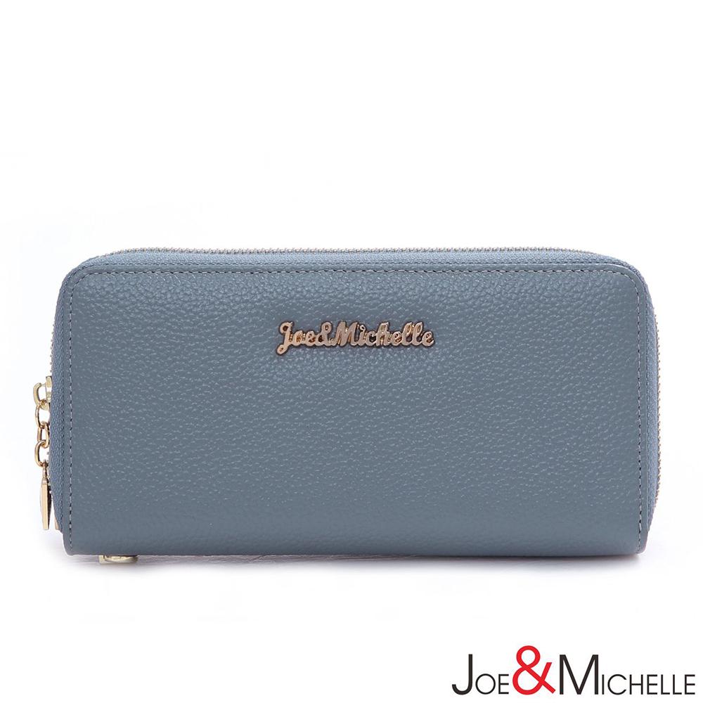 J&M 真皮賽薇亞雙層拉鍊長夾 微風藍