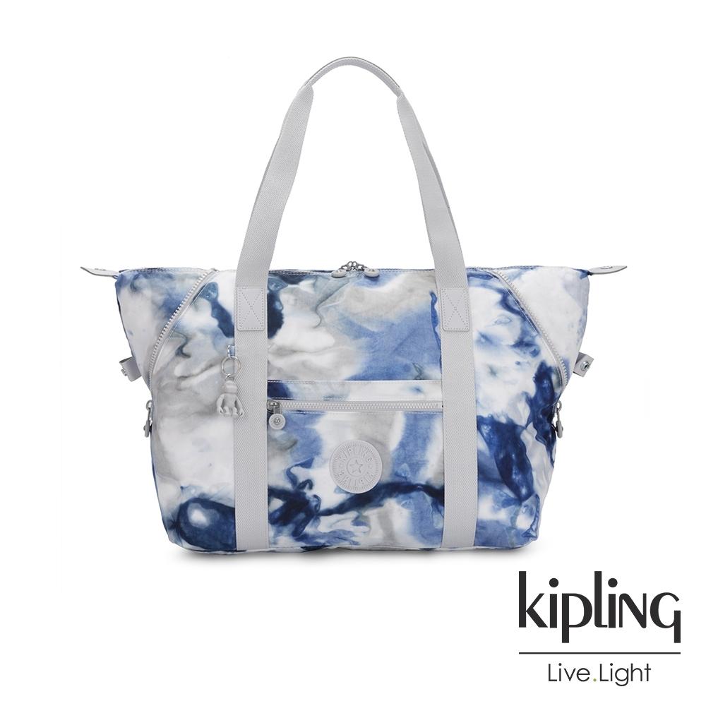 Kipling 率性渲染藍手提側背包-ART M