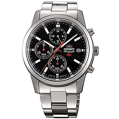 ORIENT 透徹時光三眼計時運動石英腕錶鋼帶(FKU00002B0)-黑x42mm