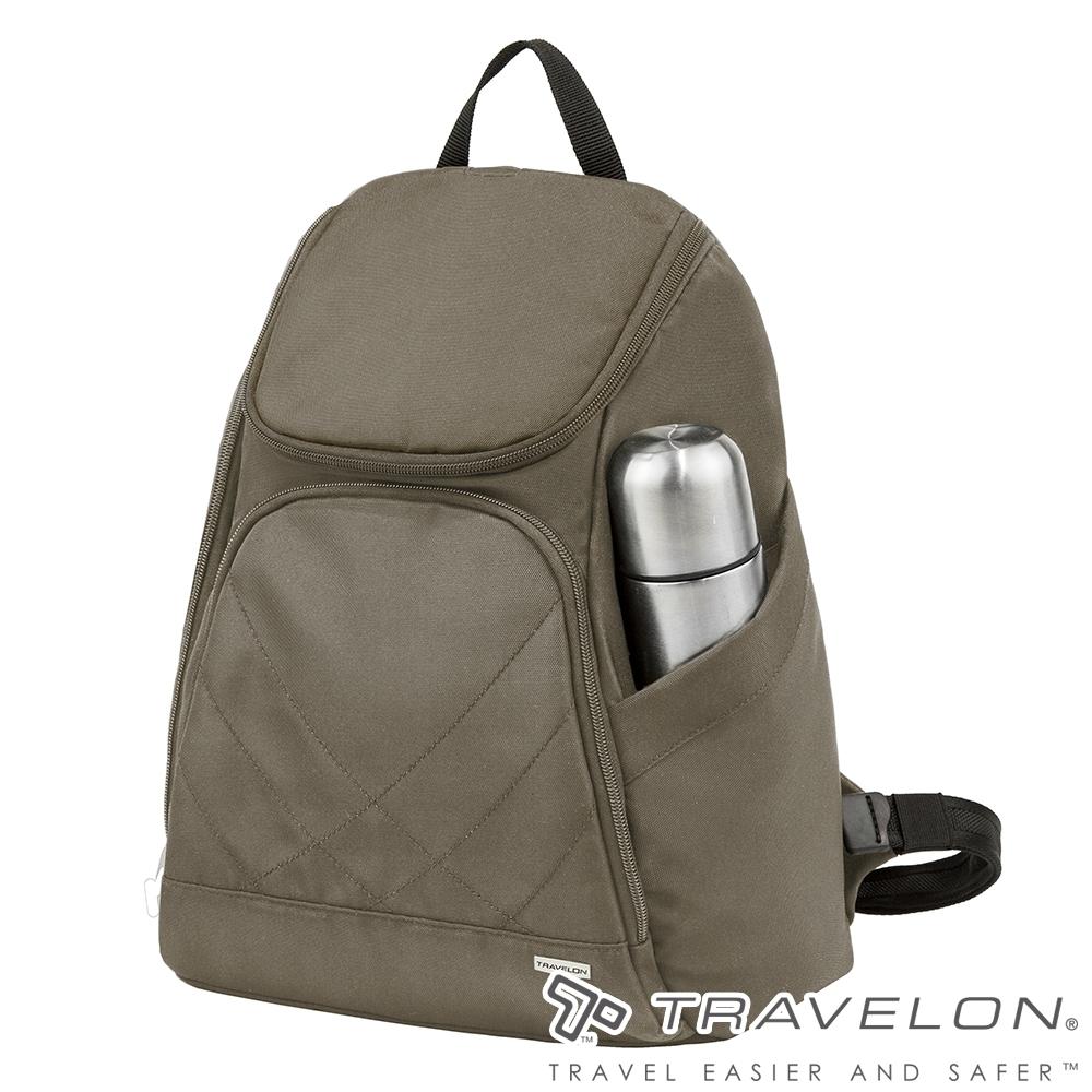 【Travelon美國防盜包】簡單素面風格經典雙肩後背包TL-42310橄欖綠/休閒旅遊包/書包