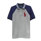 Ralph Lauren 大童經典大馬拼接雙色短袖POLO衫-深藍/淺灰(S/8歲)