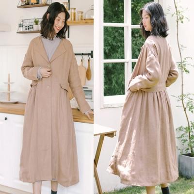外套-杏色風衣大衣中長版寬鬆棉麻-設計所在