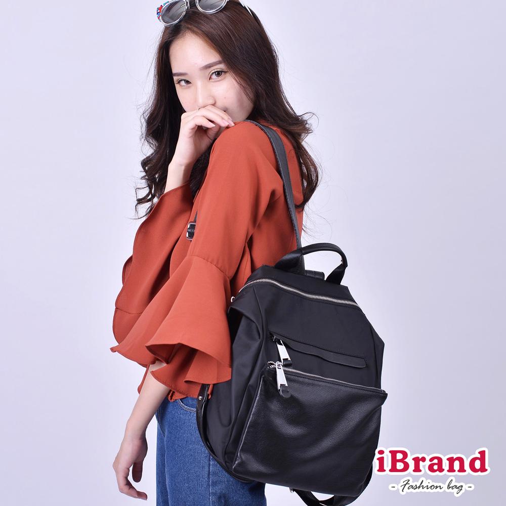 iBrand 韓系時尚簡約真皮口袋3way尼龍後背包-黑